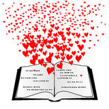 Abra el libro con los corazones del vuelo y te amo Foto de archivo libre de regalías