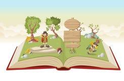 Abra el libro con los niños de la historieta en equipo del explorador ilustración del vector