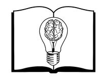 Abra el libro con un cerebro que brilla intensamente Fotos de archivo libres de regalías