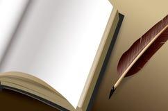 Abra el libro con white pages en blanco Imagenes de archivo