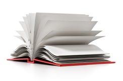 Abra el libro con white pages en blanco ilustración 3D Fotos de archivo