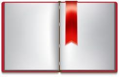 Abra el libro con white pages, la cubierta roja y la señal roja Fotografía de archivo libre de regalías