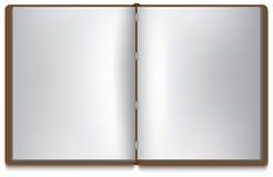 Abra el libro con white pages y la cubierta marrón Imagen de archivo libre de regalías
