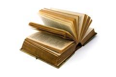 Abra el libro de cuero antiguo sobre blanco Fotografía de archivo libre de regalías