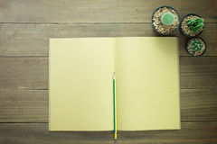 Abra el libro en blanco con un lápiz y un cactus Foto de archivo