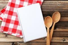 Abra el libro en blanco de la receta Fotografía de archivo libre de regalías