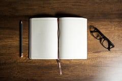 Abra el libro en blanco del diario Fotografía de archivo libre de regalías