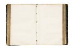 Abra el libro en blanco viejo con el camino de recortes. Foto de archivo