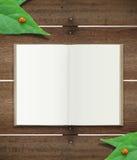 Abra el libro en la madera Ilustración del Vector