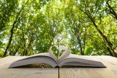 Abra el libro en la tabla de madera en fondo borroso natural Página del libro del corazón De nuevo a escuela Copie el espacio fotografía de archivo libre de regalías