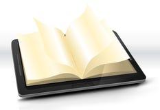 Abra el libro en PC de la tablilla stock de ilustración
