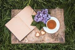Abra el libro, la taza de té y la rama de la lila Té en el jardín Foto de archivo