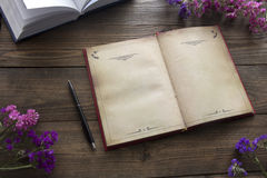 Abra el libro, las flores y la pluma Fotografía de archivo