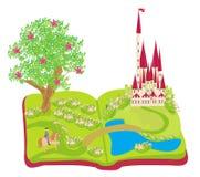 Abra el libro - príncipe que monta un caballo stock de ilustración