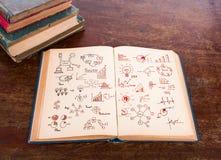 Abra el libro viejo del vintage con el gráfico de negocio Fotografía de archivo libre de regalías