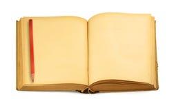 Abra el libro y el creyón en blanco fotos de archivo libres de regalías