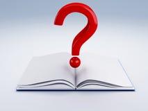 Abra el libro y un signo de interrogación Foto de archivo libre de regalías