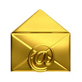 Abra el logotipo de oro del correo electrónico del sobre Foto de archivo libre de regalías