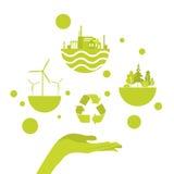 Abra el logotipo verde del concepto de la energía de la palma Fotografía de archivo