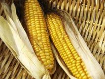 Abra el maíz en la cesta fotos de archivo
