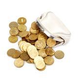 Abra el monedero con las monedas de oro imagen de archivo