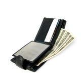 Abra el monedero con los dólares. Imágenes de archivo libres de regalías