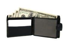 Abra el monedero con los dólares. Fotos de archivo