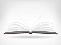 Abra el objeto aislado vacío de la vista lateral del libro Foto de archivo libre de regalías
