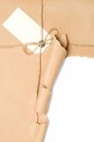 Abra el paquete con la escritura de la etiqueta Fotos de archivo
