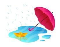 Abra el paraguas y la reflexión de papel amarilla de la nave en el charco Imagenes de archivo