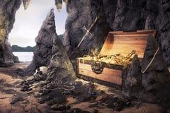Abra el pecho de tesoro con oro brillante en una cueva Foto de archivo
