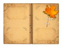 Abra el photoalbum del vintage para las fotos con follaje del otoño Imagen de archivo libre de regalías