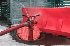 Abra el pozo y la boca de incendios del consumo de agua Imagen de archivo