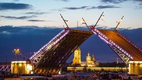 Open Dvortsovy Bridge and view of the Spit of Vasilyevsky Island Stock Footage