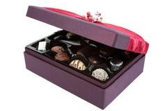 Abra el rectángulo de chocolates Imagen de archivo libre de regalías
