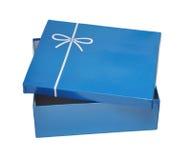 Abra el rectángulo de regalo azul Imagen de archivo libre de regalías