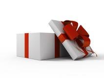 Abra el rectángulo de regalo blanco Foto de archivo