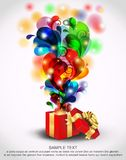 Abra el rectángulo de regalo mágico rojo Imágenes de archivo libres de regalías