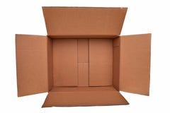 Abra el rectángulo marrón del cartón. imagen de archivo libre de regalías