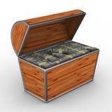 Abra el rectángulo con los dólares en el fondo blanco Imagen de archivo libre de regalías