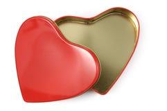 Abra el rectángulo de regalo en forma de corazón Imágenes de archivo libres de regalías