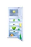 Abra el refrigerador blanco Congelador de refrigerador Imagen de archivo libre de regalías