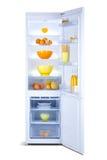 Abra el refrigerador Congelador de refrigerador Imágenes de archivo libres de regalías