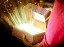 Abra el regalo del rectángulo Imágenes de archivo libres de regalías