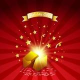 Abra el regalo mágico con los fuegos artificiales del efecto luminoso Tarjeta de felicitación del regalo de vacaciones Fotos de archivo libres de regalías