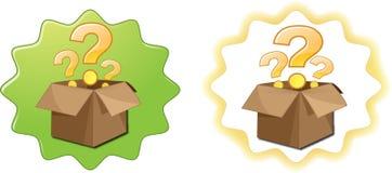 Abra el signo de interrogación de la caja stock de ilustración