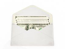 Abra el sobre que contiene billetes de banco del dólar Fotos de archivo libres de regalías
