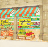 Abra el supermercado con la inscripción de Fruites y de las verduras Foto de archivo