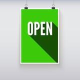 Abra el tablero de las muestras de la puerta de las compras Fotografía de archivo