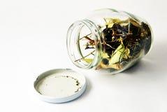 Abra el tarro de té herbario Foto de archivo